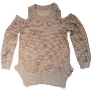 Sweaters - Light Pink Cold Shoulder Net Sweater